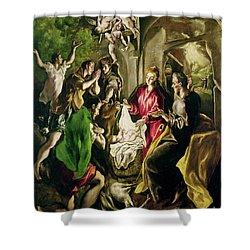 Adoration Of The Shepherds Shower Curtain by El Greco Domenico Theotocopuli