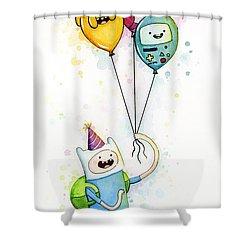 Adventure Time Finn With Birthday Balloons Jake Princess Bubblegum Bmo Shower Curtain by Olga Shvartsur