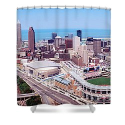 Aerial View Of Jacobs Field, Cleveland Shower Curtain by Panoramic Images