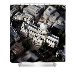 Aerial View Of St Pauls Cathedral Shower Curtain by Mark Rogan