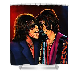 Aerosmith Toxic Twins Painting Shower Curtain by Paul Meijering