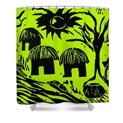 African Huts Yellow Shower Curtain by Caroline Street