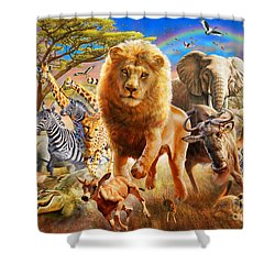 African Stampede Shower Curtain by Adrian Chesterman