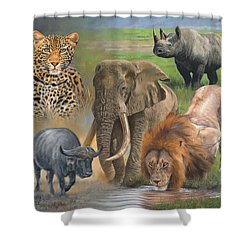 Africa's Big Five Shower Curtain by David Stribbling