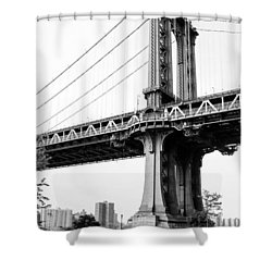 Afternoon Under The Manhattan Bridge - Brooklyn Bridge Park Shower Curtain by Gary Heller
