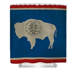 Aged Wyoming State Flag Shower Curtain by Dan Sproul
