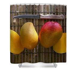 Agriculture - Sliced Sunrise Mango Shower Curtain by Daniel Hurst