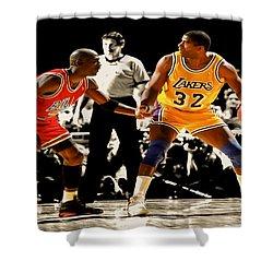 Air Jordan On Magic Shower Curtain by Brian Reaves
