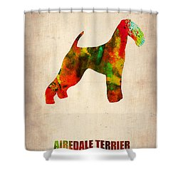 Airedale Terrier Poster Shower Curtain by Naxart Studio