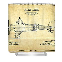 Airplane Patent Drawing From 1918 - Vintage Shower Curtain by Aged Pixel