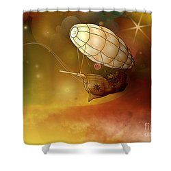 Airship Ethereal Journey Shower Curtain by Bedros Awak