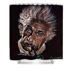 Albert Einstein Portrait Shower Curtain by Daliana Pacuraru
