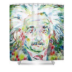 Albert Einstein Watercolor Portrait.1 Shower Curtain by Fabrizio Cassetta