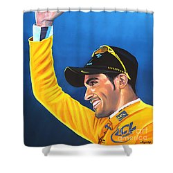 Alberto Contador Shower Curtain by Paul Meijering