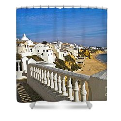 Albufeira Village By The Sea Shower Curtain by Heiko Koehrer-Wagner
