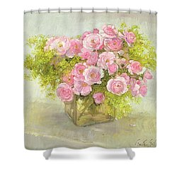 Alchemilla And Roses Shower Curtain by Timothy Easton