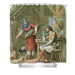 Alfred The Great, Legend Of The Cakes Shower Curtain by Photo Researchers