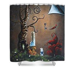 Alice In Wonderland Original Artwork - Key To Wonderland Shower Curtain by Shawna Erback