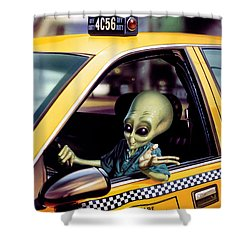 Alien Cab Shower Curtain by Steve Read