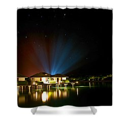 Alien Light At The Tropical Resort Shower Curtain by Jenny Rainbow