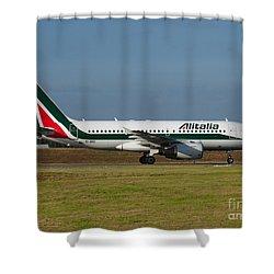 Alitalia Airbus A319 Shower Curtain by Paul Fearn