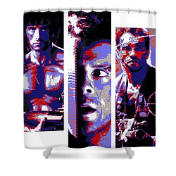 All-american 80's Action Movies Shower Curtain by Dale Loos Jr