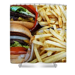 All American Cheeseburgers And Fries Shower Curtain by Methune Hively