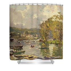 Along The Seine At Meudon Shower Curtain by Albert Charles Lebourg