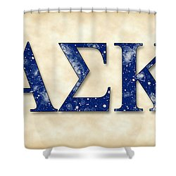 Alpha Sigma Kappa - Parchment Shower Curtain by Stephen Younts