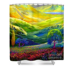 Wildflower Meadows, Amber Skies Shower Curtain by Jane Small
