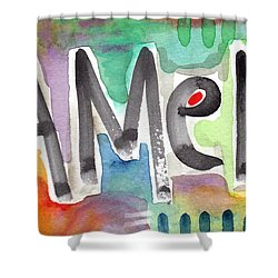 Amen- Colorful Word Art Painting Shower Curtain by Linda Woods