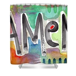 Amen Greeting Card Shower Curtain by Linda Woods