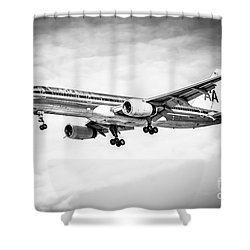Amercian Airlines 757 Airplane In Black And White Shower Curtain by Paul Velgos