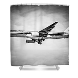 Amercian Airlines Airplane In Black And White Shower Curtain by Paul Velgos