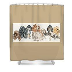 American Cocker Spaniel Puppies Shower Curtain by Barbara Keith