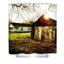 American Fabric   Mickey Mantle's Childhood Home Shower Curtain by Iconic Images Art Gallery David Pucciarelli