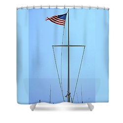 American Flag On Mast Shower Curtain by Ben and Raisa Gertsberg