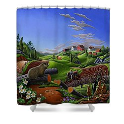 Americana Decor - Springtime On The Farm Country Life Landscape - Square Format Shower Curtain by Walt Curlee