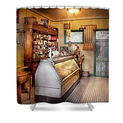 Americana - Store - At The Local Grocers Shower Curtain by Mike Savad