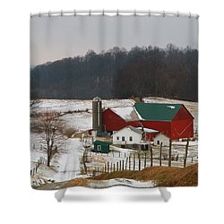 Amish Barn In Winter Shower Curtain by Dan Sproul