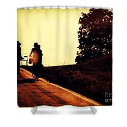 Amish Family Cycles Into Sunset Shower Curtain by Beth Ferris Sale