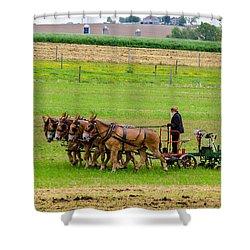 Amish Farmer Shower Curtain by Guy Whiteley