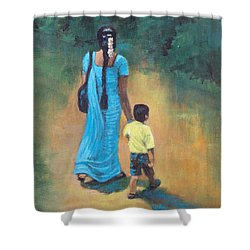 Amma's Grip Leads. Shower Curtain by Usha Shantharam