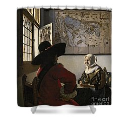 Amorous Couple Shower Curtain by Vermeer