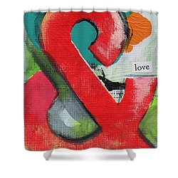 Ampersand Love Shower Curtain by Linda Woods