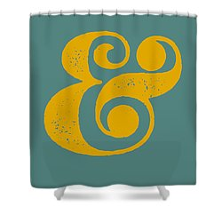 Ampersand Poster Blue And Yellow Shower Curtain by Naxart Studio