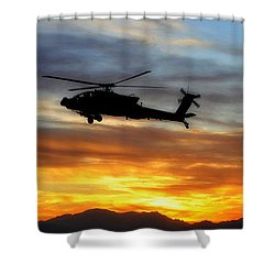 An Ah-64 Apache Shower Curtain by Paul Fearn