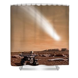 An Artists Depiction Of The Close Pass Shower Curtain by Marc Ward