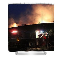 Shower Curtain featuring the photograph An Engine Crew Works At Night On White Draw Fire by Bill Gabbert