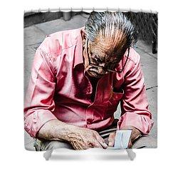 An Old Man Reading His Book Shower Curtain by Sotiris Filippou